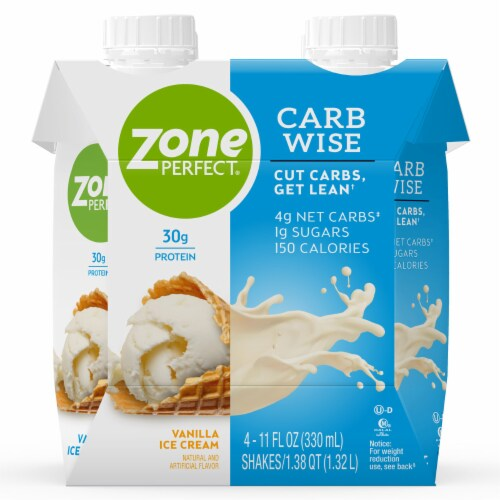 ZonePerfect Carb Wise Vanilla Ice Cream Protein Shakes Perspective: front