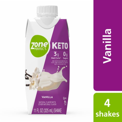 ZonePerfect Keto Vanilla Ready-to-Drink Shakes Perspective: front