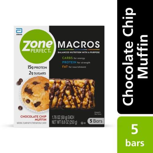 ZonePerfect Macros Chocolate Chip Muffin Protein Bars Perspective: front