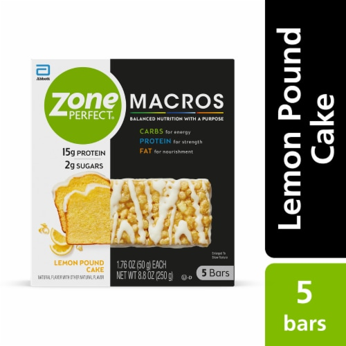 ZonePerfect Macros Lemon Pound Cake Protein Bars Perspective: front