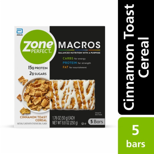 ZonePerfect Macros Cinnamon Toast Cereal Protein Bar Perspective: front