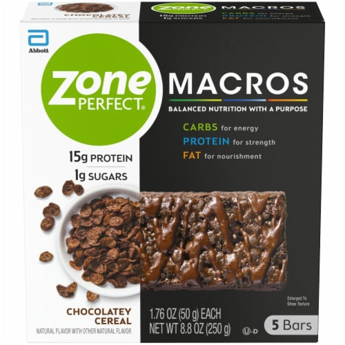 ZonePerfect Macros Chocolatey Cereal Protein Bars Perspective: front
