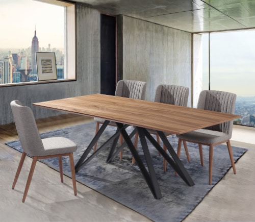 Wade Mid-Century Walnut Wood 5 Piece Dining Set Perspective: front