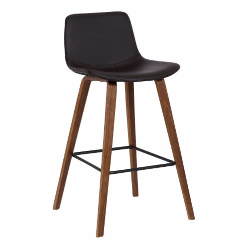Armen Living Maddie 25.5 H Faux Leather Counter Stool in Walnut and Brown Perspective: front