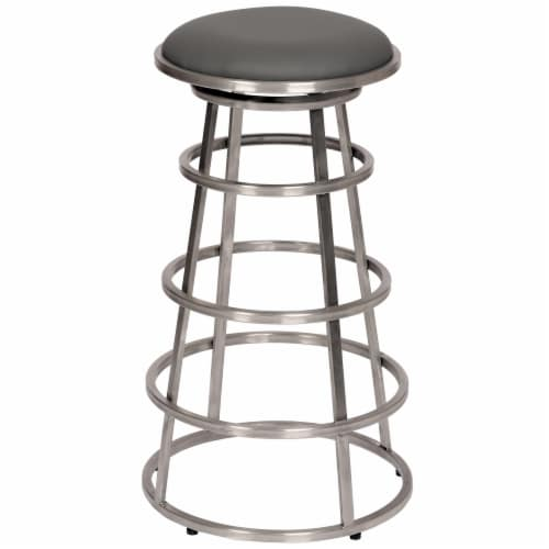Armen Living Ringo 26  Backless Brushed Stainless Steel Barstool in Gray Faux Leather Perspective: front