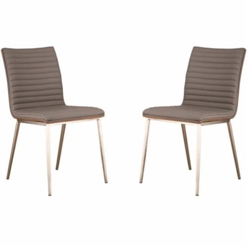 Armen Living Cafe Faux Leather Steel Dining Chair in Gray (Set of 2) Perspective: front