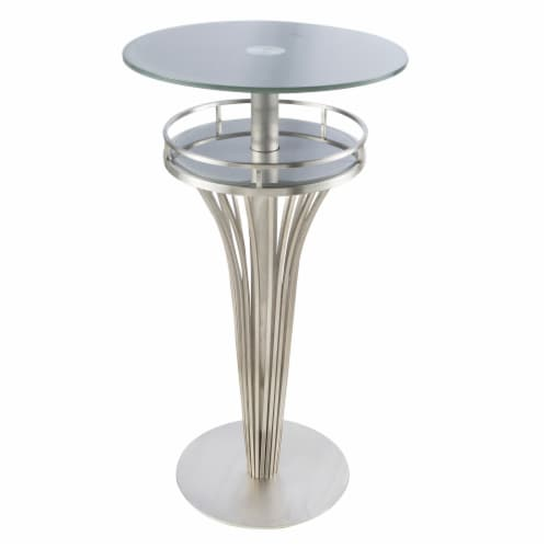 Armen Living Yukon Contemporary Bar Table In Stainless Steel and Gray Frosted Glass Perspective: front