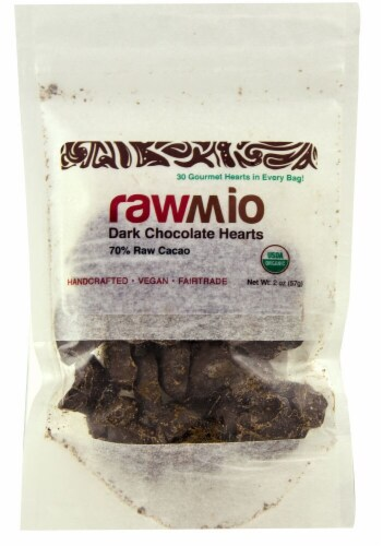 Windy City Organics Rawmio Dark Chocolate Hearts Perspective: front
