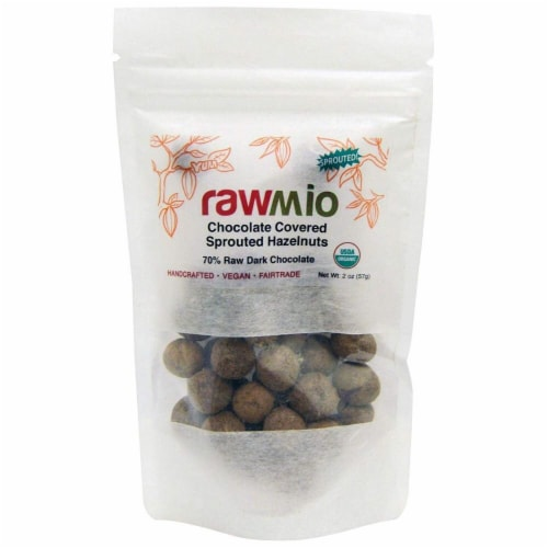 Windy City Organics  Rawmio Chocolate Covered Sprouted Hazelnuts Perspective: front