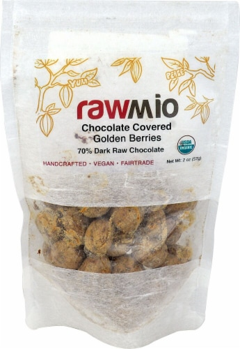Windy City Organics  Rawmio Chocolate Covered Golden Berries Perspective: front