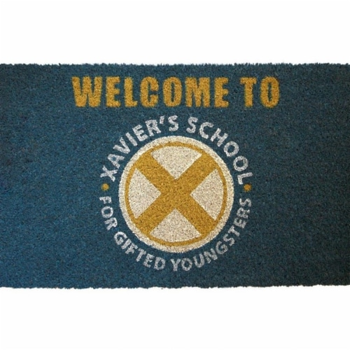 X-Men 808108 17 x 29 in. Xaviers School for Gifted Youngsters Doormat with Non-Skid Back Perspective: front