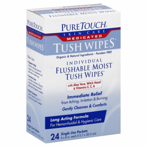 Puretouch Tush Wipes Medicated Individual Flushable Moist Tush Wipes Perspective: front