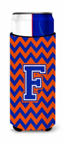 Letter F Chevron Orange and Blue Ultra Beverage Insulators for slim cans Perspective: front