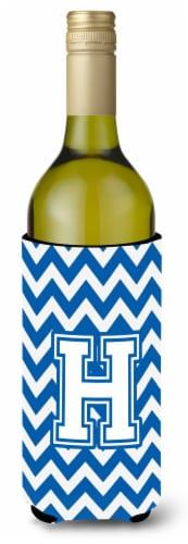 Letter H Chevron Blue and White Wine Bottle Beverage Insulator Hugger Perspective: front