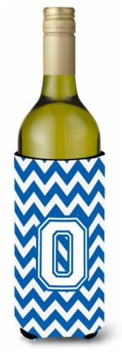 Letter O Chevron Blue and White Wine Bottle Beverage Insulator Hugger Perspective: front