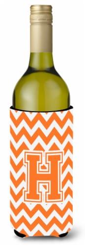 Letter H Chevron Orange and White Wine Bottle Beverage Insulator Hugger Perspective: front
