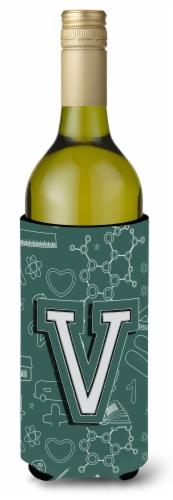 Letter V Back to School Initial Wine Bottle Beverage Insulator Hugger Perspective: front