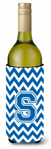 Letter S Chevron Blue and White Wine Bottle Beverage Insulator Hugger Perspective: front