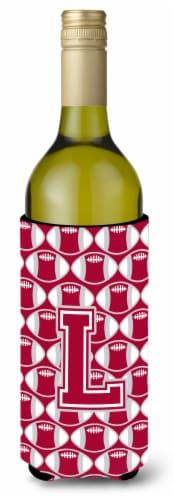 Letter L Football Crimson, grey and white Wine Bottle Beverage Insulator Hugger Perspective: front