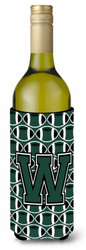 Letter W Football Green and White Wine Bottle Beverage Insulator Hugger Perspective: front