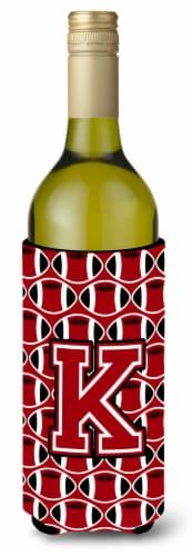 Letter K Football Red, Black and White Wine Bottle Beverage Insulator Hugger Perspective: front