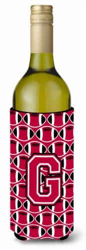 Letter G Football Crimson and White Wine Bottle Beverage Insulator Hugger Perspective: front