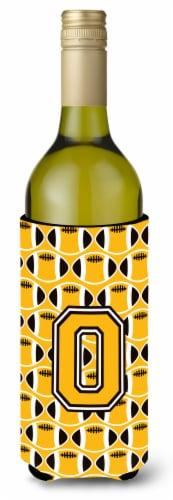 Letter O Football Black, Old Gold and White Wine Bottle Beverage Insulator Hugge Perspective: front