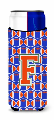 Letter F Football Green, Blue and Orange Ultra Beverage Insulators for slim cans Perspective: front