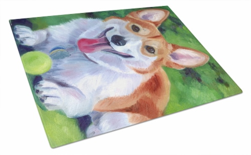 Carolines Treasures  7296LCB Corgi with green ball Glass Cutting Board Large Perspective: front