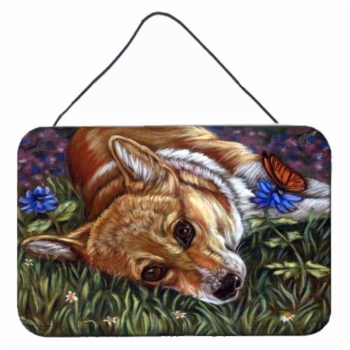 Corgi Pastel Butterfly Wall or Door Hanging Prints Perspective: front