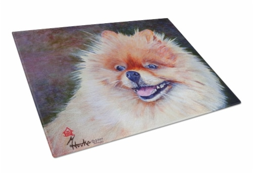 Carolines Treasures  MH1056LCB Pomeranian Head Glass Cutting Board Large Perspective: front