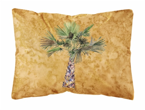 Palm Tree on Gold Canvas Fabric Decorative Pillow Perspective: front