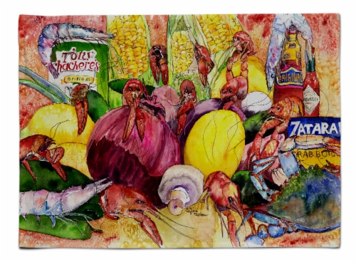 Carolines Treasures  8698PLMT Crawfish with Spices and Corn Fabric Placemat Perspective: front