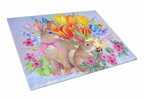 New Beginnings II Easter Rabbit Glass Cutting Board Large Perspective: front