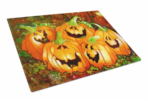 Such a Glowing Personality Pumpkin Halloween Glass Cutting Board Large Perspective: front