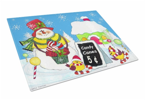 Candy Canes for Sale Snowman Glass Cutting Board Large Perspective: front