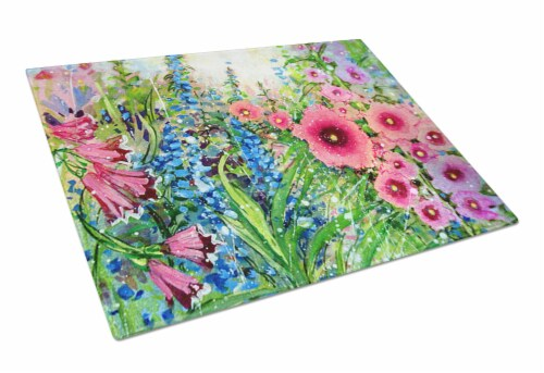 Easter Garden Springtime Flowers Glass Cutting Board Large Perspective: front