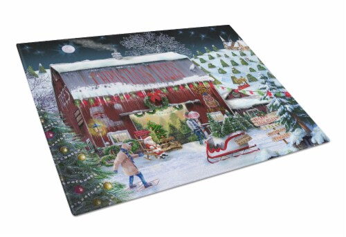 Carolines Treasures  PTW2002LCB Christmas Tree Farm Glass Cutting Board Large Perspective: front