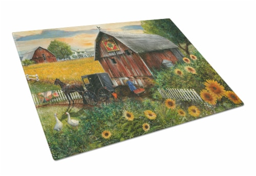Sunflower Country Paradise Barn Glass Cutting Board Large Perspective: front