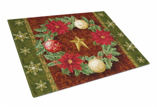 Holly Wreath with Christmas Ornaments Glass Cutting Board Large Perspective: front