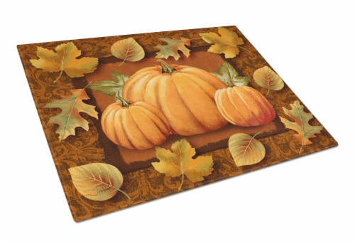 Pumpkins and Fall Leaves Glass Cutting Board Large Perspective: front