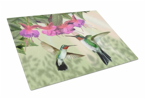 Fuchsia and Hummingbirds Glass Cutting Board Large Perspective: front