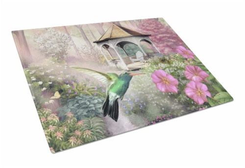Garden Gazebo Hummingbird Glass Cutting Board Large Perspective: front
