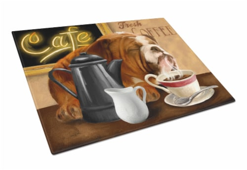 English Bulldog Morning Coffee Glass Cutting Board Large Perspective: front
