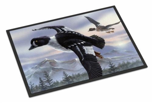 Goldeneye Ducks Flying Indoor or Outdoor Mat 24x36 Perspective: front