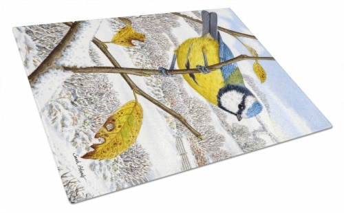 Eurasian Blue Tits Bird Glass Cutting Board Large 12hx15w City Market