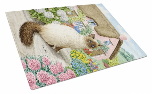 Carolines Treasures  ASA2086LCB Birman Cat and Cottage Glass Cutting Board Large Perspective: front