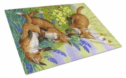 Carolines Treasures  ASA2131LCB Fox Cubs Glass Cutting Board Large Perspective: front