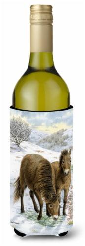 Exmoor Ponies Horse Wine Bottle Beverage Insulator Hugger Perspective: front