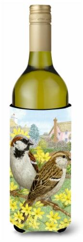 House Sparrows Wine Bottle Beverage Insulator Hugger Perspective: front